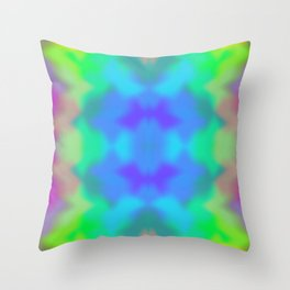 Rainbow Multicolored Watercolor Abstract Tie Dye Throw Pillow