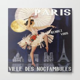 Paris at Night, Girl with Parasol Vintage Travel Poster Metal Print