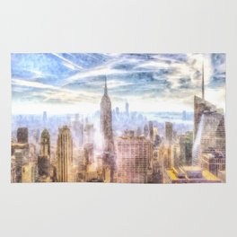 New York Manhattan Skyline Art Rug