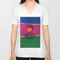 magritte V-neck T-shirts featuring Magritte by Naomi Vona