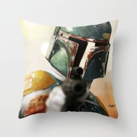 boba Throw Pillows featuring Boba by Yvan Quinet