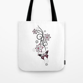 Tattoo tendril with flowers, stars and butterfly Tote Bag