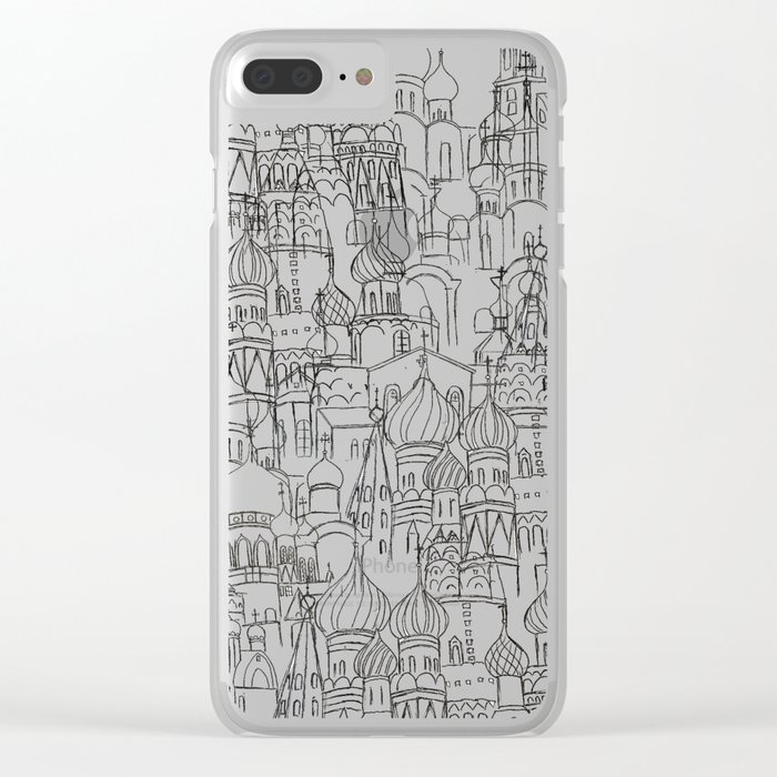 Russian cathedral church line drawing Clear iPhone Case