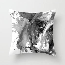 Black And White Half Faced English Bulldog Throw Pillow
