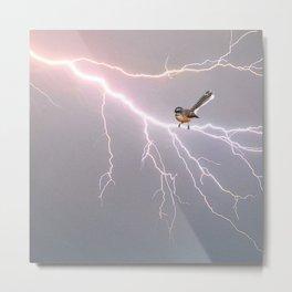 Bird on lightning bolt - Fantail Metal Print