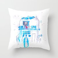 r2d2 Throw Pillows featuring R2D2 by sooarts
