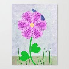 Une fleur avec deux papillons Canvas Print