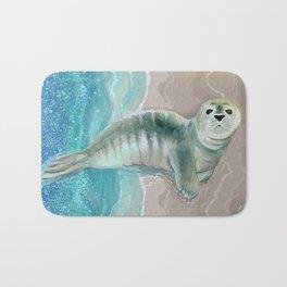 Gray Seal Where the Ocean Meets the Sand Bath Mat