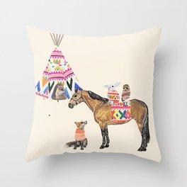 Family with horse, fox, rabbit, owl Throw Pillow