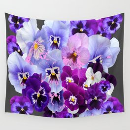GREY VARIEGATED SPRING COLLECTION  PANSIES Wall Tapestry
