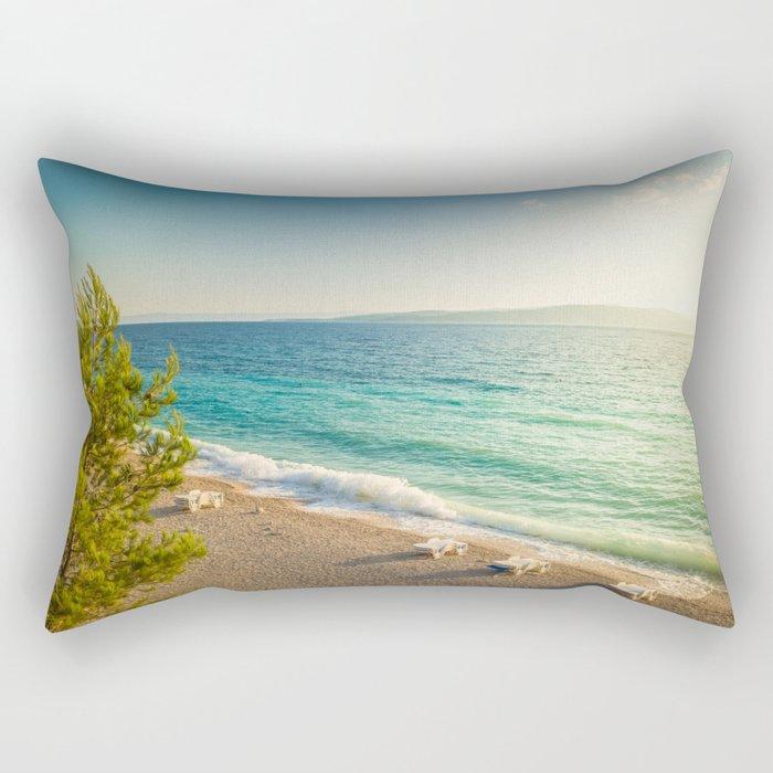 Beach in croatian coast, blue sea. Aerial view Rectangular Pillow