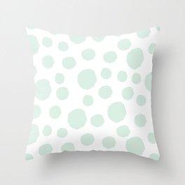 Mint Polka Art Throw Pillow
