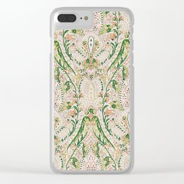 Green Pink Leaf Flower Paisley Clear iPhone Case