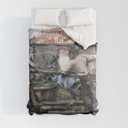 George Hendrik Breitner - Ground Porters With Carts - Digital Remastered Edition Comforters