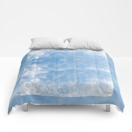 Blue abstract of condensation water flowing down Comforters