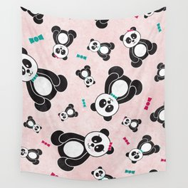 Panda Freefall in Pink Wall Tapestry