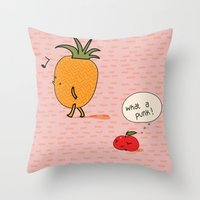 punk Throw Pillows featuring Punk by Peach it!