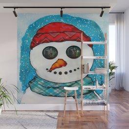 Reflections Christmas Snowman Folk Art Wall Mural