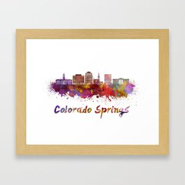 Colorado Springs V2 skyline in watercolor Framed Art Print