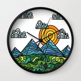 sun, mountain & hills Wall Clock