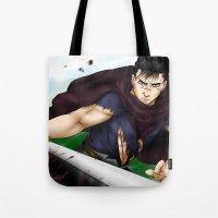berserk Tote Bags featuring Guts - Berserk Fan Art by River Kai