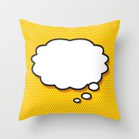 comic book Throw Pillows featuring Comic Book THINK by Thisisnotme