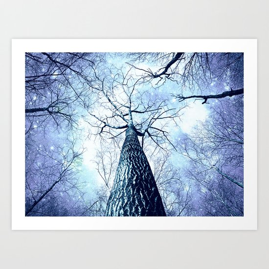 Wintry Trees Periwinkle Ice Blue Space Art Print