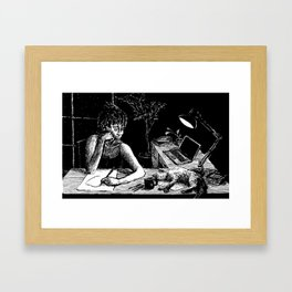 Quietly Contemplating Cat Framed Art Print
