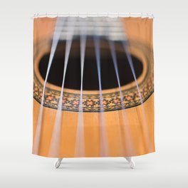 Strings of the guitar above the rose window Shower Curtain