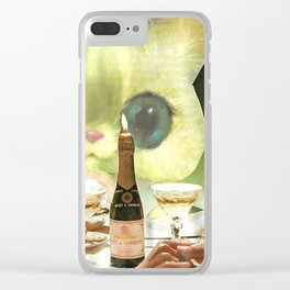 Third Wheel handcut collage Clear iPhone Case