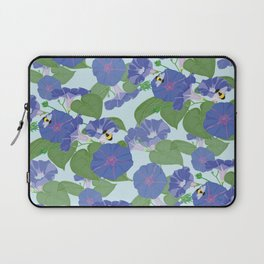 Glory Bee - Vintage Floral Morning Glories and Bumble Bees Laptop Sleeve