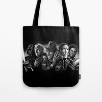 michael myers Tote Bags featuring Freddy Krueger Jason Voorhees Michael Myers leatherface Darth Vader Blackest of the Black by Scott Jackson Monsterman Graphic
