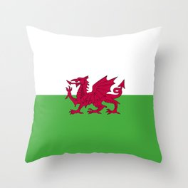 Wales flag emblem Throw Pillow