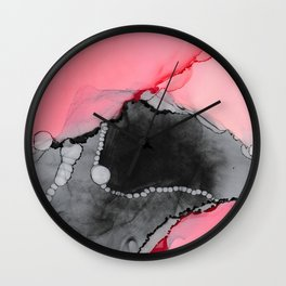 Pink & Grey Abstract Wall Clock