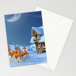 Holiday Christmas Santa Reindeer Sleigh Stationery Cards