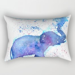 Silhouette Elephant Watercolor Rectangular Pillow