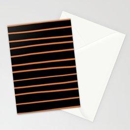 Pantone Amberglow 16-1350 Hand Drawn Horizontal Lines on Black Stationery Cards