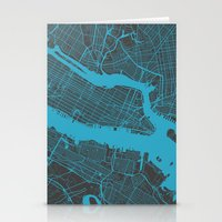 new york map Stationery Cards featuring new york map by Map Map Maps