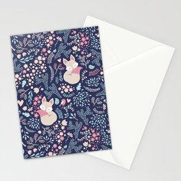 Sleeping Fox - navy Stationery Cards