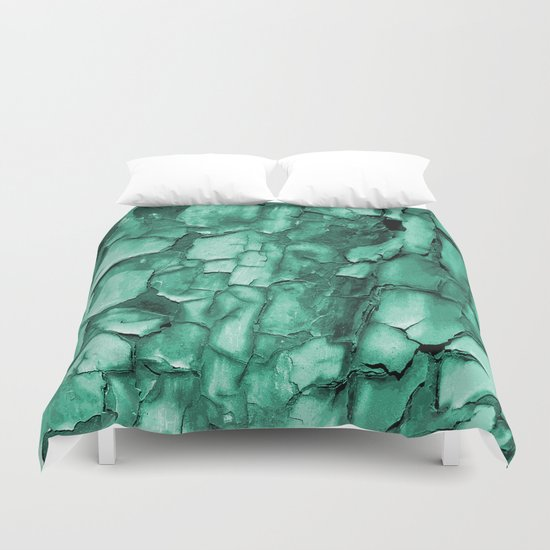 Flakey - Teal Duvet Cover