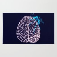 brain Area & Throw Rugs featuring Brain by Emilie Ringlet