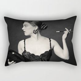 """""""A Noir Night Out"""" - The Playful Pinup - Modern Gothic Twist on Pinup by Maxwell H. Johnson Rectangular Pillow"""