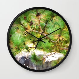 Evergreen tree branches with cones Wall Clock