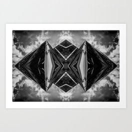 Alien Mothership and Cloudscape in Black and White Art Print