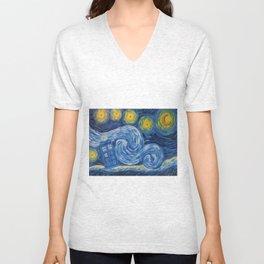 Starry Tardis Night Unisex V-Neck