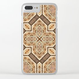 Victorian Art Deco Medieval Pattern light brown SB31 Clear iPhone Case