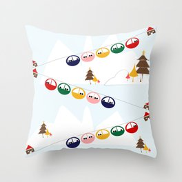 Ski cables Throw Pillow