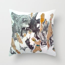 black goat Throw Pillow