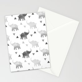 Elephants and Triangles - Silver Stationery Cards