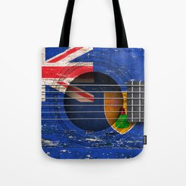 Old Vintage Acoustic Guitar with Turks and Caicos Flag Tote Bag